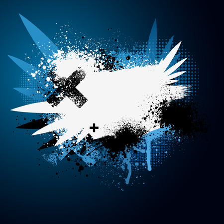 grunge banner: Blue and white winged grunge paint splatter background