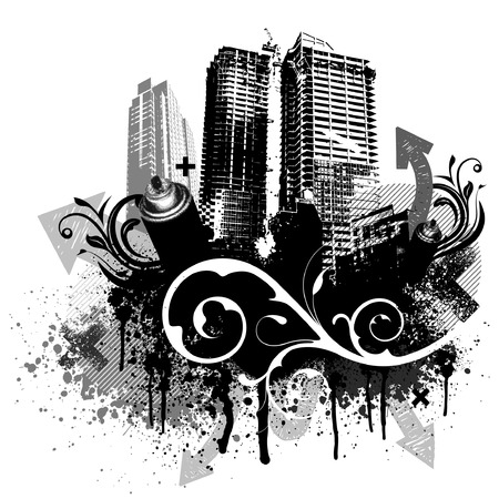 aerosol can: Black city buildings and graffiti grunge floral arrow design Illustration