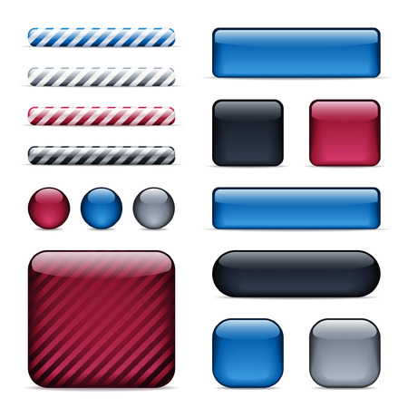 Set of glossy buttons and bars in 4 colors