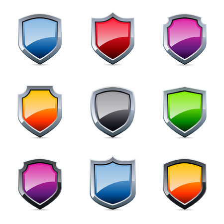 방패: Glossy shield emblem icons in various colors 일러스트