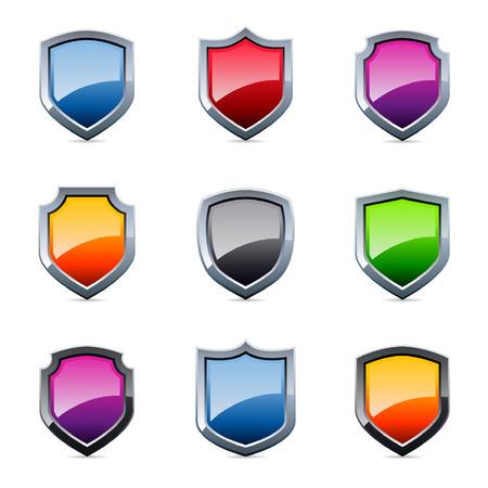 shield emblem: Lucido scudo emblema icone in vari colori