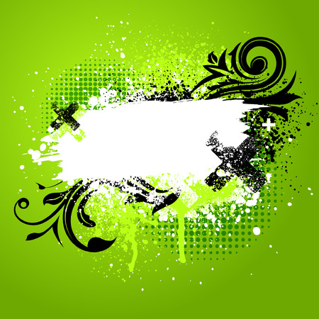 Green and black floral grunge paint splatter background Stock Vector - 5876361