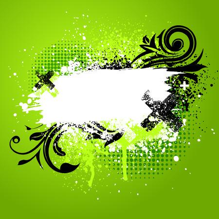 digital background: Green and black floral grunge paint splatter background