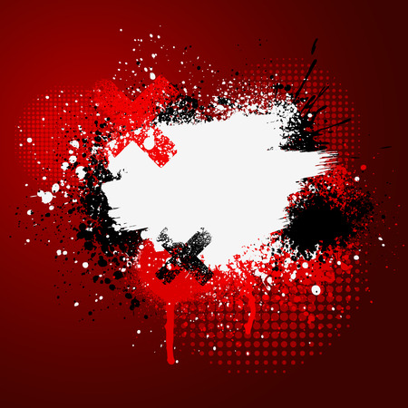 Red and white grunge paint splatter background