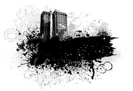 Black city buildings and graffiti grunge paint splatter Vector