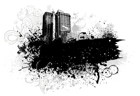 sprayed: Black city buildings and graffiti grunge paint splatter