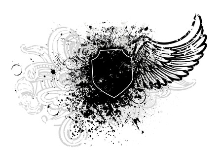 shield with wings: Black shield and wing design with grunge paint splatter