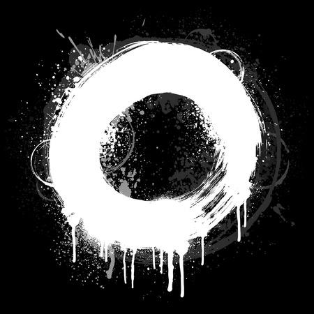 Zwart-wit geborsteld grunge verf ring Stock Illustratie