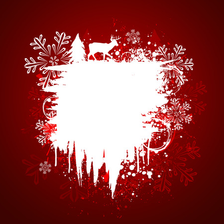 Red and white winter holiday grunge paint splatter background Stock Vector - 5944682