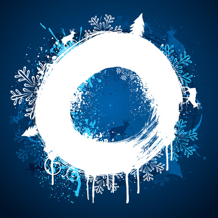 Blue and white winter grunge paint ring background Stock Vector - 5966243