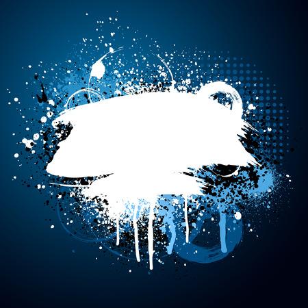 grunge: Black and blue grunge paint splatter background
