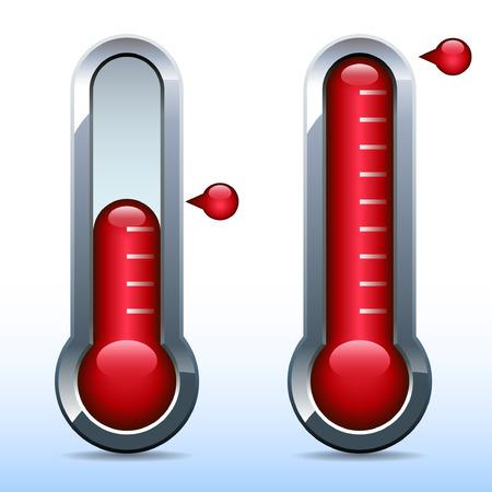 Metalen thermometer afbeelding die de voortgang aangeven naar doel Stock Illustratie