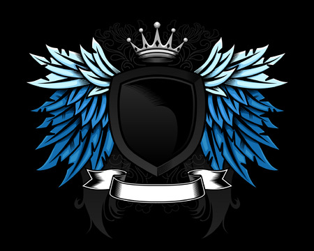 crests: Progettazione di ala e Scudo araldico con scorrimento dettagliata e corona