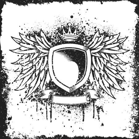 Heraldic vleugel en schild ontwerp met grunge-structuur Stock Illustratie
