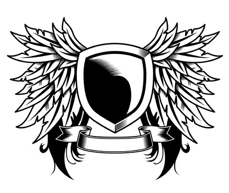 Heraldic wing and shield design with scroll illustration