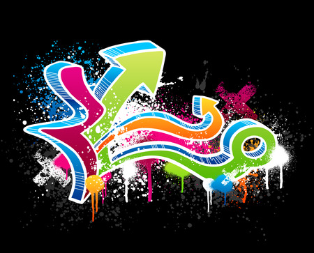 Colorful graffiti sketch with grunge paint splatter