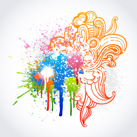 Colorful swirl sketch with grunge paint splatter Stock Vector - 7432148