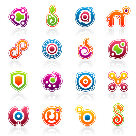 round logo: Set of 16 colorful abstract design elements and graphics