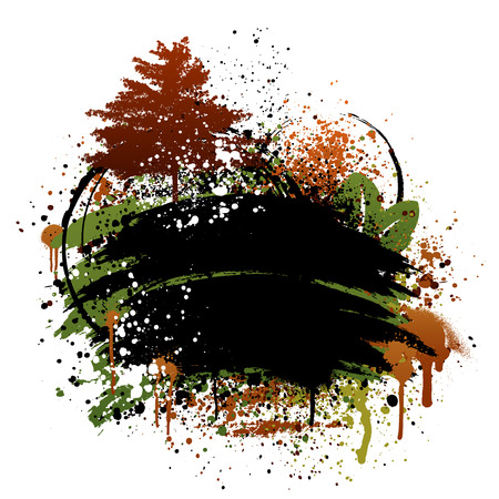 Black, brown, and green autumn fall grunge frame design Stock Vector - 7888044