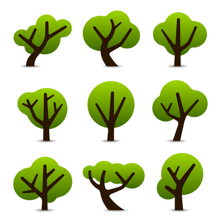 Set of 9 tree icons in simple shapes and designs