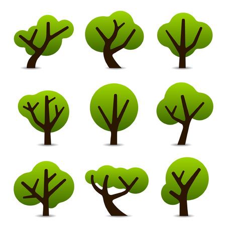 Set van 9 boom-iconen in eenvoudige vormen en ontwerpen Stock Illustratie