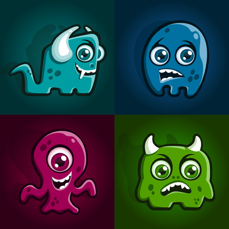 Set of four cartoon monster characters creatures Illustration