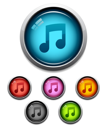 eighth: Glossy music button icon set in 6 colors