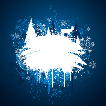 white winter: Blue and white winter grunge spray paint design Illustration