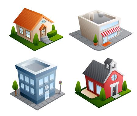 Set van 4 gebouw illustraties - huis, winkel, kantoor, School
