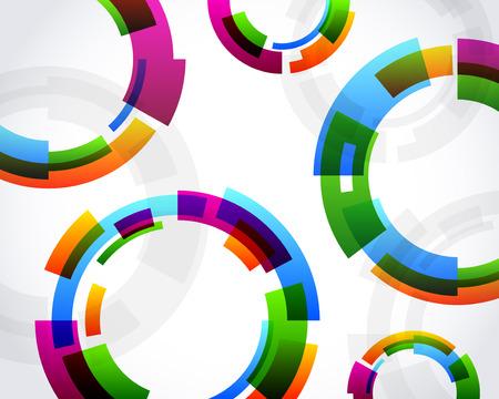 다채로운 추상적 인 동심원 배경 디자인 일러스트