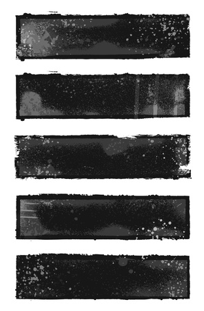 brush stroke: Set of 5 black and gray grunge banner designs