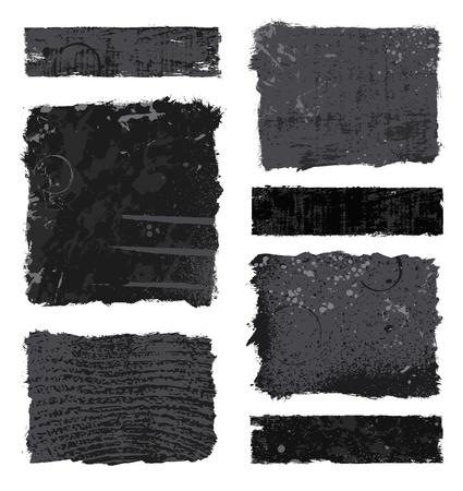 Reeks diverse zwarte en grijze ontwerpen van de grungebanner