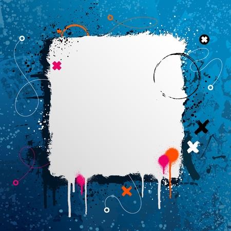 Grunge page frame design with paint splatter Ilustracja