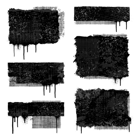 crosshatch: Set of various black and gray grunge banner designs