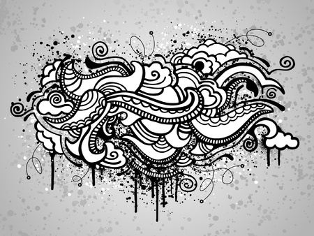 cloud: Black abstract cloud drawing with spray paint splatter Illustration