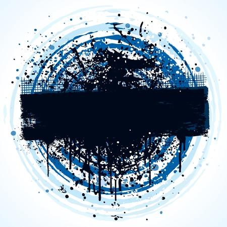 Circular grunge banner background design with paint splatter Vector