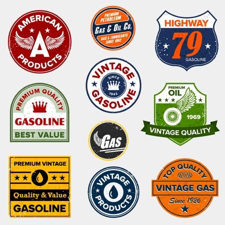 Set van vintage retro benzine borden en labels