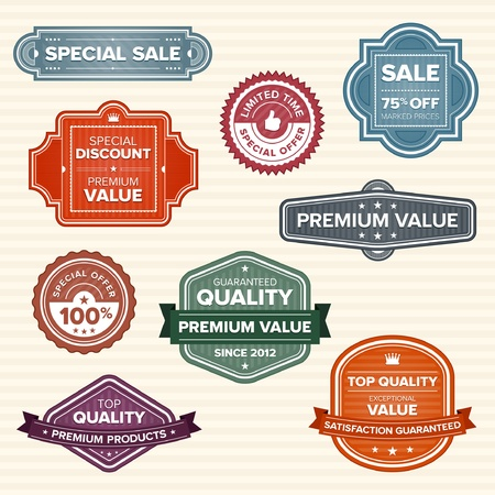 Set of 9 vintage retro labels in various colors Vettoriali