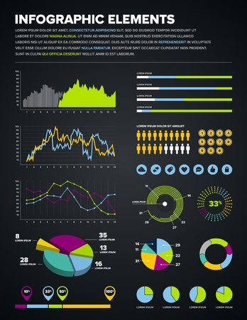 Set of infographic charts, icons, and design elements