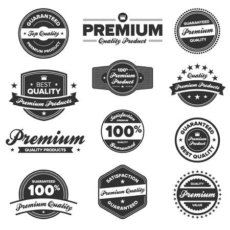 guarantee seal: Juego de 12 tarjetas de retro de primera calidad y las etiquetas Vectores