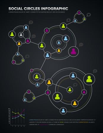 Social media circles infographic and design elements Illustration