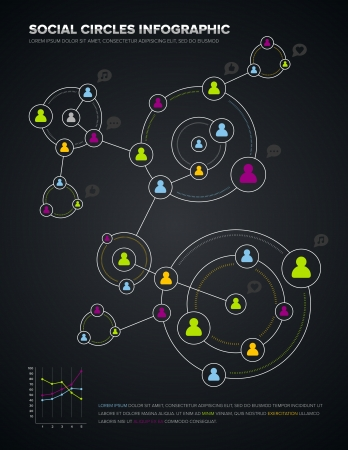 Social media circles infographic and design elements Ilustração