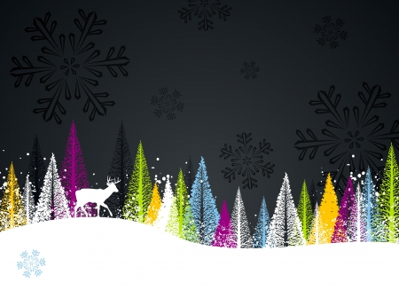 Dark and colorful winter forest background design