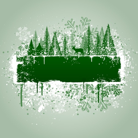 Green and white winter forrest grunge paint design