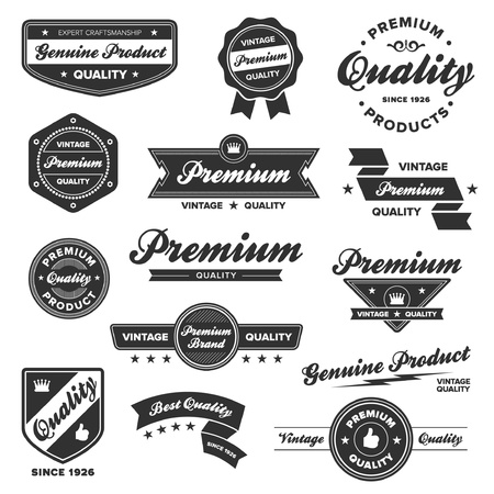 badge shield: Set of vintage retro premium quality badges and labels