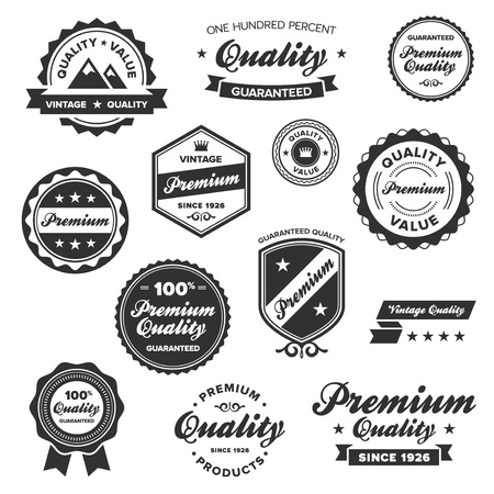 quality seal: Set of vintage retro premium quality badges and labels
