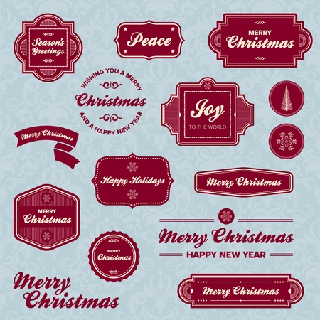 Set of vintage Christmas holiday labels and graphics