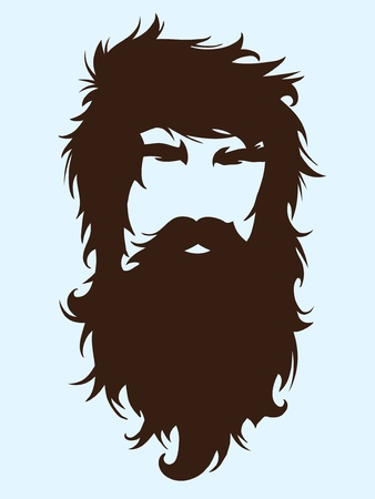 Bearded man silhouette illustration with long hair Vector