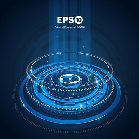 Bleu conception abstraite tech background cercles avec effet de lumière Vecteurs