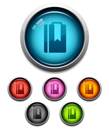 Glossy cloud button icon set in 6 colors